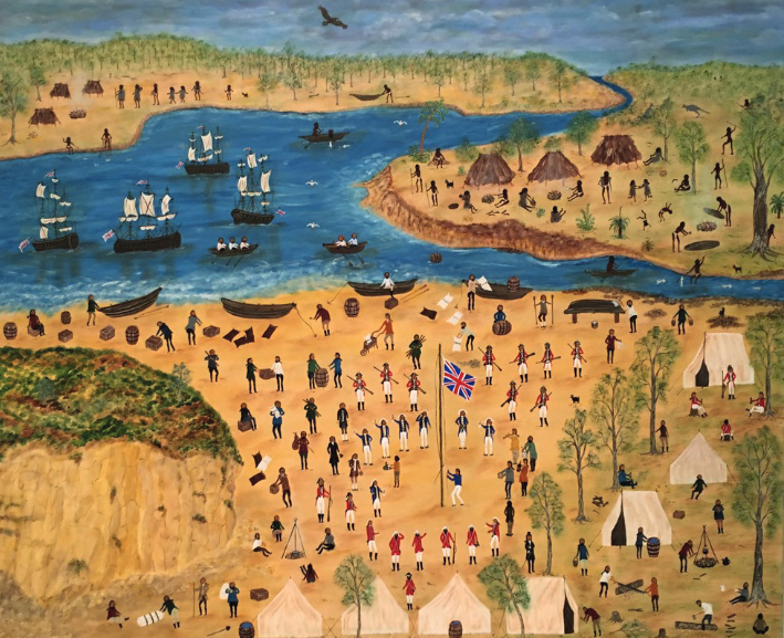 Marlene GILSON Cook's Landing, 2018 acrylic on linen Shepparton Art Museum Collection, purchased, 2018  acc no. 2018.21